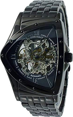 COGU コグ 自動巻き フルスケルトン ITALYイタリア 三角フェイス トライアングル メンズ 腕時計 BNT ベルト調整具付き (ブラック×ブラック:BNT-BBK)