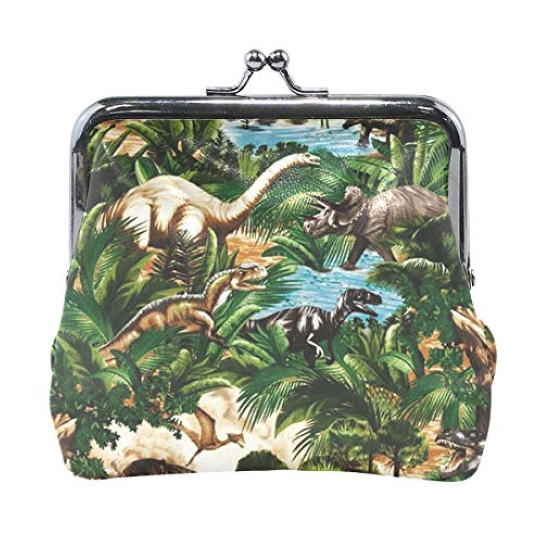 がま口 小銭入れ 財布 恐竜の時代 コインケース レザー製 丸形 軽量 人気 おしゃれ プレゼント ギフト 雑貨