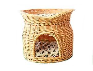 【Cantaloupe】犬 猫用 籐 カゴ マット付き ペットハウス ベッド ラタン 猫ちぐら【二段ハウス・ライトブラウン】★猫じゃらし付き