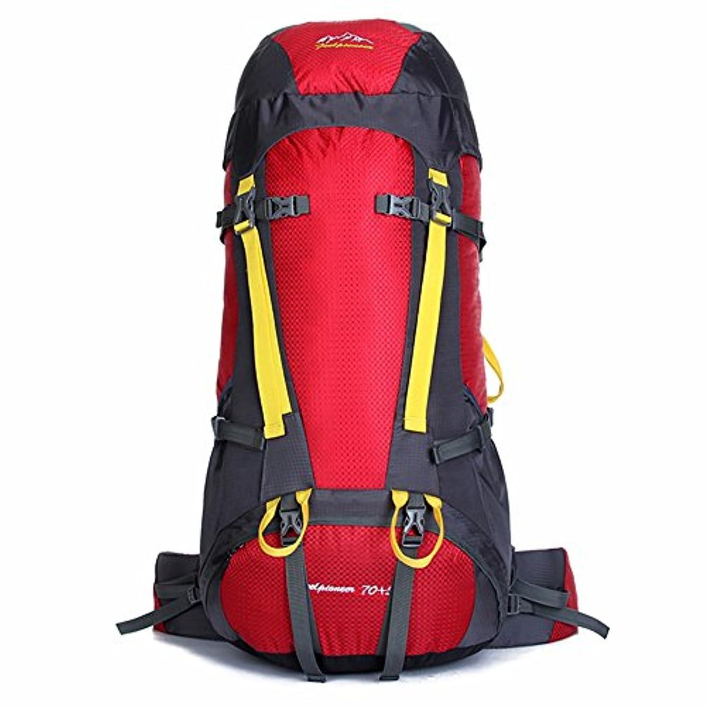 満州懇願する懐ユニセックス 登山バックパック 防水大容量 耐摩耗性 レジャースポーツ ハイキング キャンプ場外 多機能 ニュートラルな男性と女性 ショルダー 屋外での使用に適しています 軽量野外活動バッグ (色 : 赤)