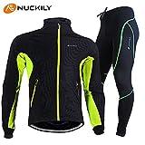NUCKILY 商標登録5726995 ファッション専門家 撥水 冬用 長袖 裏起毛 上下セット サイクルウェア