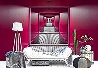 ピンク壁、廊下、ミラー効果フォト壁紙壁画 L - 8ft 4in x 6ft (WxH)