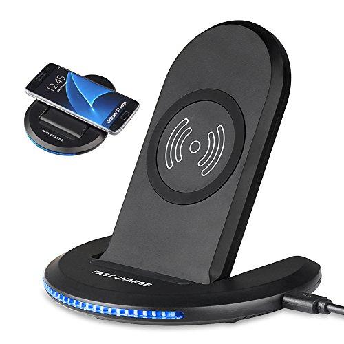 Qiワイヤレス充電器 急速 2in1 折り畳み式 USBケーブル付き iPhone X 8 Galaxy S8 S8+ S7 edgeなど対応