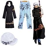 HALLE ワンピース トラファルガー・ロー 二代 風 コート+ズボン+帽子 コスチューム 黒 青 Lサイズ
