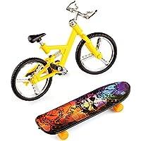 フィンガーバイク?フィンガーボード2点セット フィンガー自転車1個、指スケ1個   9.5cm カラーランダム ミニチュア おもちゃ 子供 誕生日 プレゼント 子供のスポーツギフト