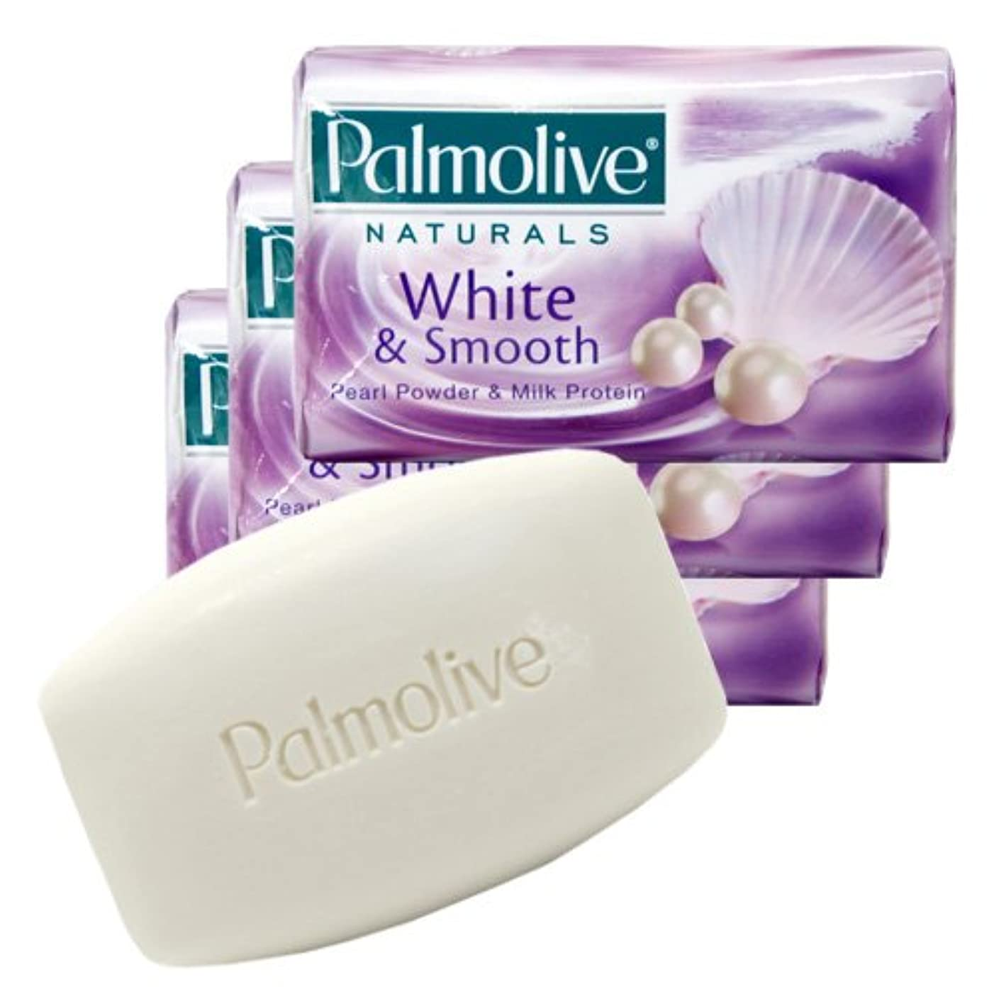 雨のローラー適度な【Palmolive】パルモリーブ ナチュラルズ石鹸3個パック ホワイト&スムース(パールパウダー&ミルクプロテイン)80g×3