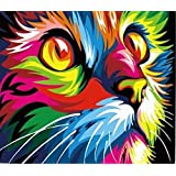 Wowdecor Paint by Numbers Canvas Kits for Adults Beginner Kids, DIY Acrylic Number Painting - Colorful Cat Head 16x20 inch - Wall Art Digital Oil Painting Home Decor Christmas Gifts (Framed)