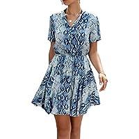 LittleMax Women's Printed Dresses Short Sleeve Button A Line T Shirt Skater Mini Dress -Work Casual Summer Clothes
