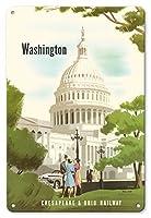 22cm x 30cmヴィンテージハワイアンティンサイン - ワシントンD.C. - チェサピーク&オハイオ鉄道 - 米国議会議事堂 - ビンテージな鉄道旅行のポスター によって作成された ベルン・ヒル c.1950