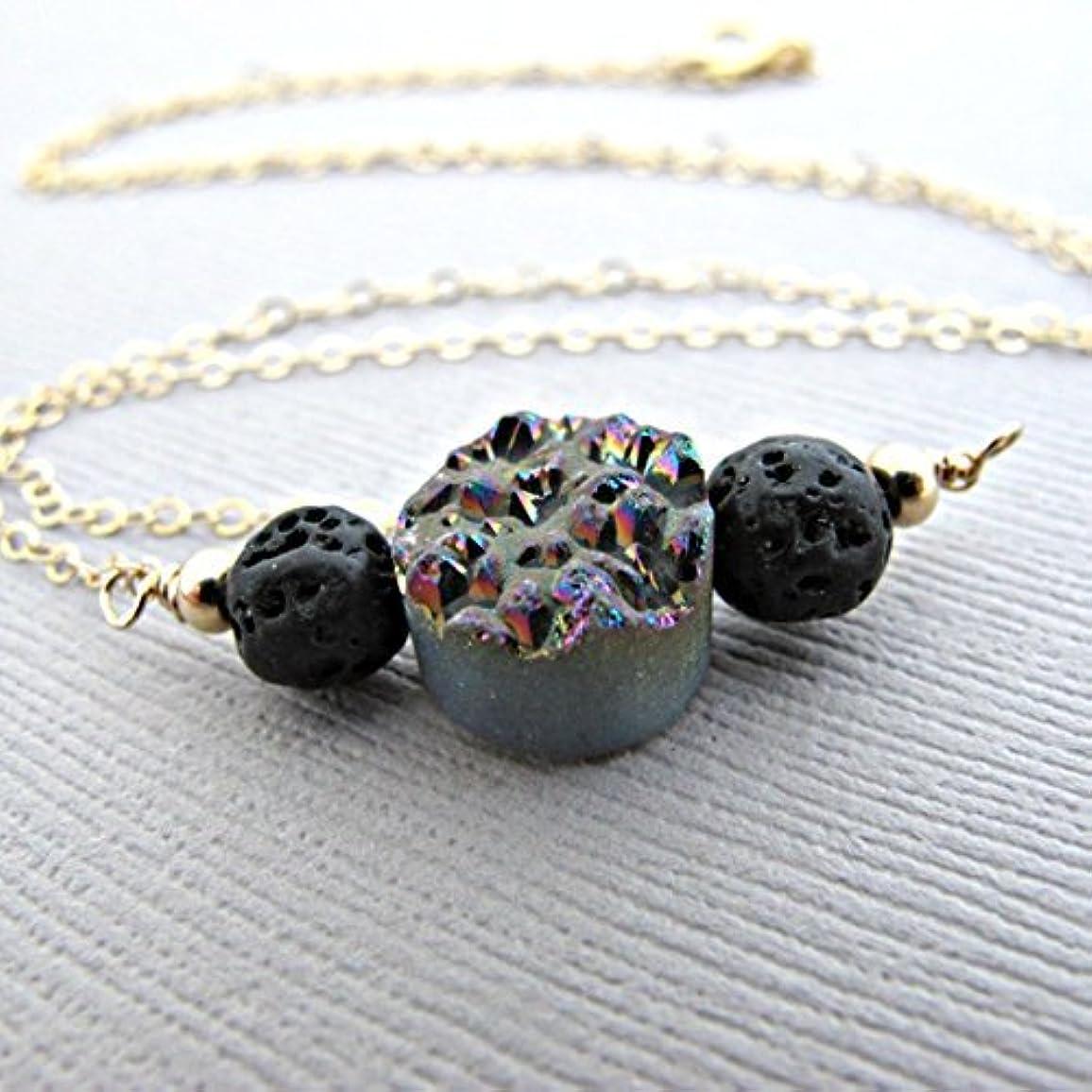 国民投票傾斜振動させるRainbow Druzy Lava Pendant Essential Oil Necklace Diffuser Aromatherapy - Simple Minimalist Lava Bead Diffuser...