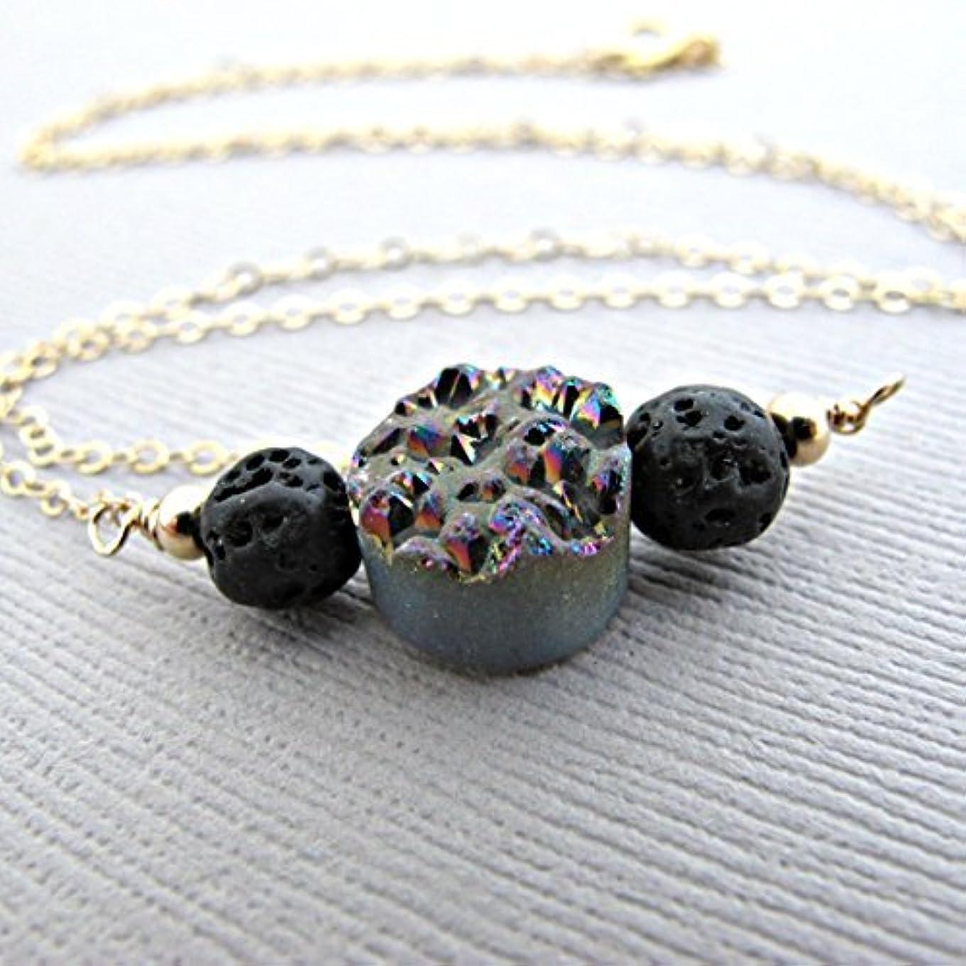 希少性哲学的紛争Rainbow Druzy Lava Pendant Essential Oil Necklace Diffuser Aromatherapy - Simple Minimalist Lava Bead Diffuser...
