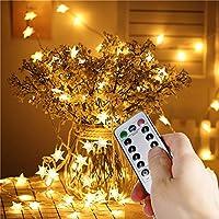 V-Dank LED イルミネーション ライト 10M 80球 8モード ストリングライト 電池 防水 電飾 星形 フェアリーライト 点滅 リモコン操作 クリスマス ツリー 飾り物 高輝度 明るさ調整可能 ウォームホワイト 屋外 室内 結婚式 誕生日 ハロウィン 新年 記念日 デコレーション