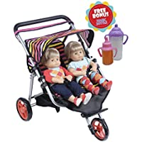 Twin Jogger DOLL Stroller with Diaper Bag (Bitty Twins) by Exquisite Buggy