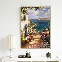 DJIAQJI 部屋の芸術の絵画を生きて農村キャンバスキャンバスホームポーチソファの背景の装飾を塗装色のオイル (Size : 60*90cm)