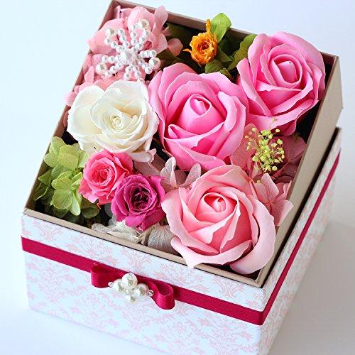 Azurosa(アズローザ) プリザーブドフラワー ギフト ボックス スクエア 枯れない花 フレグランスソープ ローズ ピンクミックス