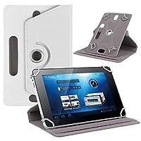 Ayangg ユニバーサル8インチタブレットフォリオケース、 360度回転 スタンド付きPUレザーカバー iPad Mini、Fire 8 HD、Samsungタブ、LG Huawei用 (白)