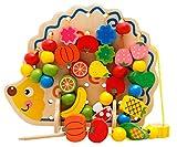 子供 赤ちゃん 知育 玩具 おもちゃ ひも通し 木製 はりねずみ フルーツ カラフル ビーズ + マットになる収納袋付き プレゼント