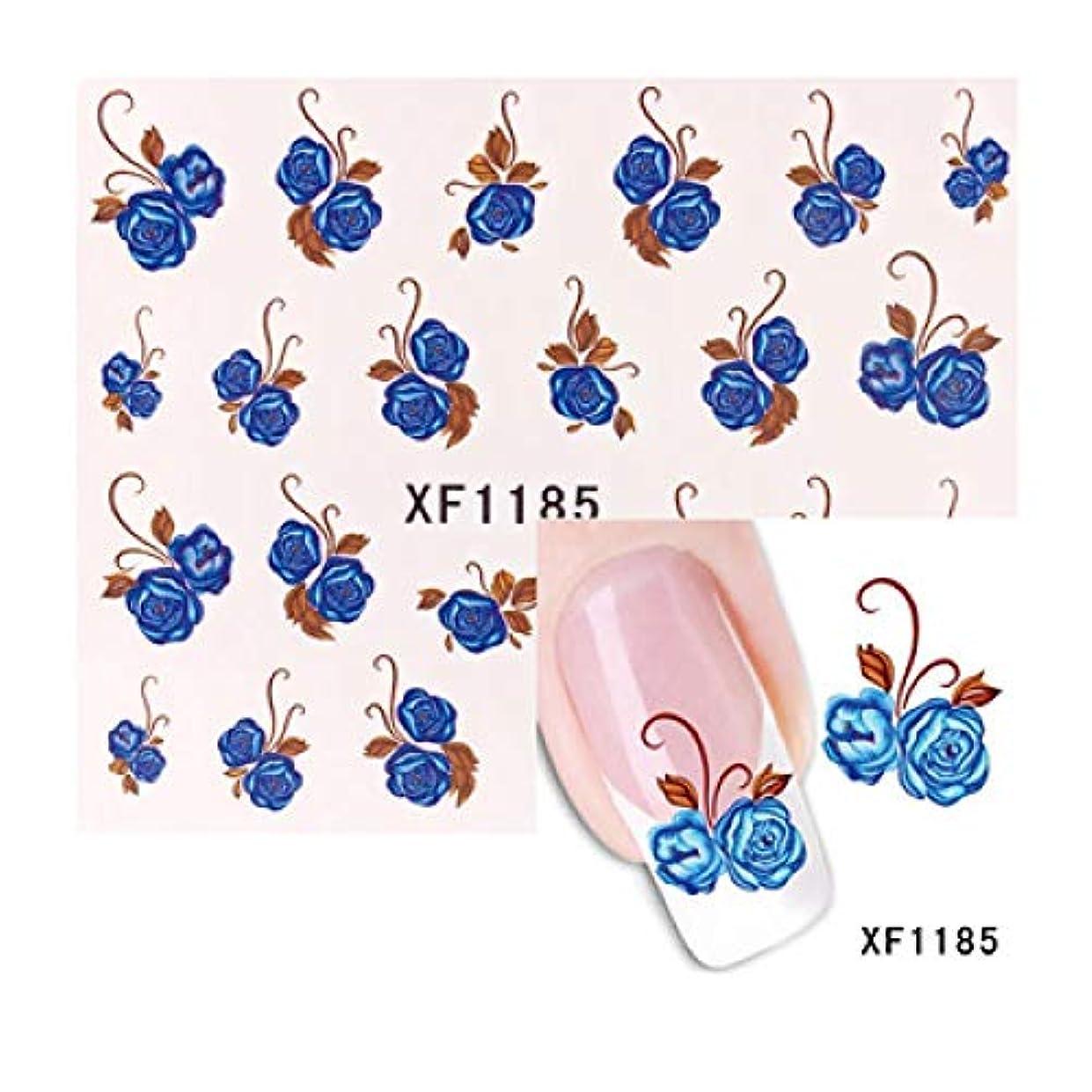 魅了するもちろん会計士SUKTI&XIAO ネイルステッカー 1シート水転写ネイルアートステッカー花蝶デザインネイルラップステッカーヒント用品デカール、Xf1185