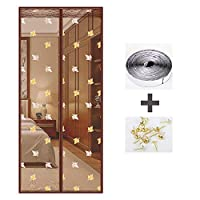 ANUO 蚊帳のドア ドアスクリーン、セルフシールガラス繊維メッシュ網戸 ネットカーテン フレンチドア(両開きドア)/ガラスドア/パティオドアBrown_35x81in/90x205cm