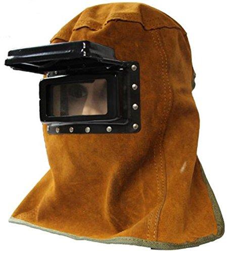 ANR 溶接面 マスク 牛革製 火傷防止 遮光 窓 跳ね上げ ゴーグル付き かぶり 脱ぎ簡単