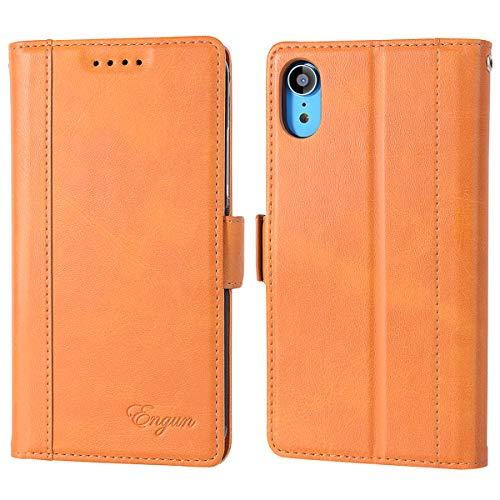 iPhone XR ケース 手帳型 アイフォンXR カバー 財布型 マグネット式 横置き機能 カード収納 Qi充電対応 ストラップ通し穴 高級PUレザー Engun アイホンXRに対応 ブラウン