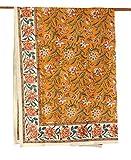 フリークロス 長方形 インド綿 北欧 アジアン 花柄 フラワーヴァイン マルチカバー テーブルクロス カーテン オレンジ イエロー e_cover_461