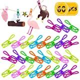 Newbested 60 Pack Premium Clothesline Utility Bag Sealing Clips Holders Multipurpose Assorted Colors Steel Wire Clips Clothes Pegs Pins for Drying Home Laundry Office Photo Decor