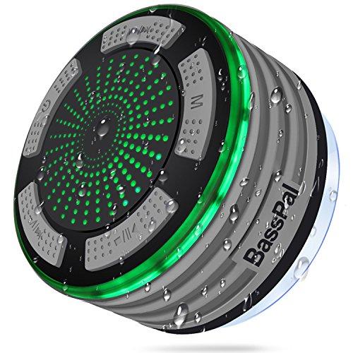 BassPal Bluetoothスピーカー ワイヤレスブルートゥーススピーカー 風呂 吸盤タイプ IPX7防水 アウトドア用(グレー)