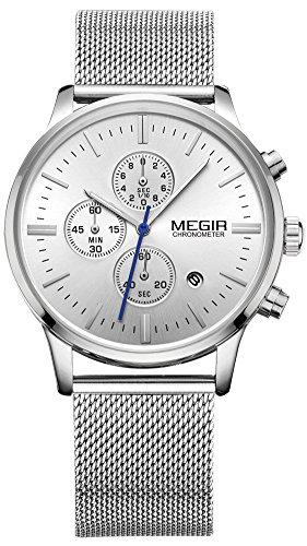 MEGIR メンズ ステンレス鋼 メッシュバンド 合金ケース クロノグラフ 薄い 防水 カレンダー オート日付 ビジネス クオーツ 腕時計 2011G (シルバー)
