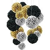 Recosis ペーパーフラワー フラワーポンポン、18個セット パーティー 結婚式 誕生日 飾り付け 紙花 ミックスカラー - ブラック、シルバーとゴールド