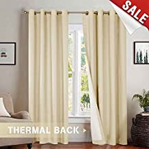 (L84 Pair, Beige) - jinchan Bedroom Thermal Moderate Blackout Curtains, Energy Saving Lined Drapes for Living Room 210cm Length, Beige Curtain Panels Grommet Top, Sold by Pair