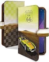 Disney Mobile on docomo DM-01H ケース 手帳型 車 道路 黄 自動車 かっこいい スマホケース ディズニーモバイル 手帳 カバー DisneyMobile dm01h dm01hケース dm01hカバー 高級車 外車 くるま [車 道路 黄/t0414]