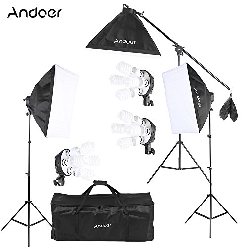 Andoer プロ 撮影スタジオ 写真照明キット 豪華22件 12つ45W電球 +3つ4in1電球ソケット +3つ ソフトボックス+ 3つ ライトスタンド + 1 つ カンチレバースティック+ キャリングバッグ 撮影機材 スタジオ撮影の必需品 万能 写真機材