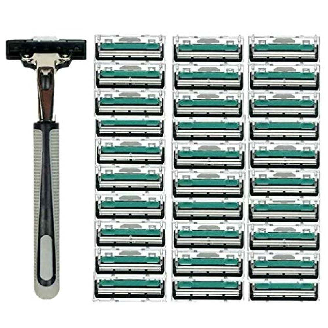 キノコ遠足助けになるKOROWA髭剃り 男性カミソリ 替刃30個付 安全性 大容量 …