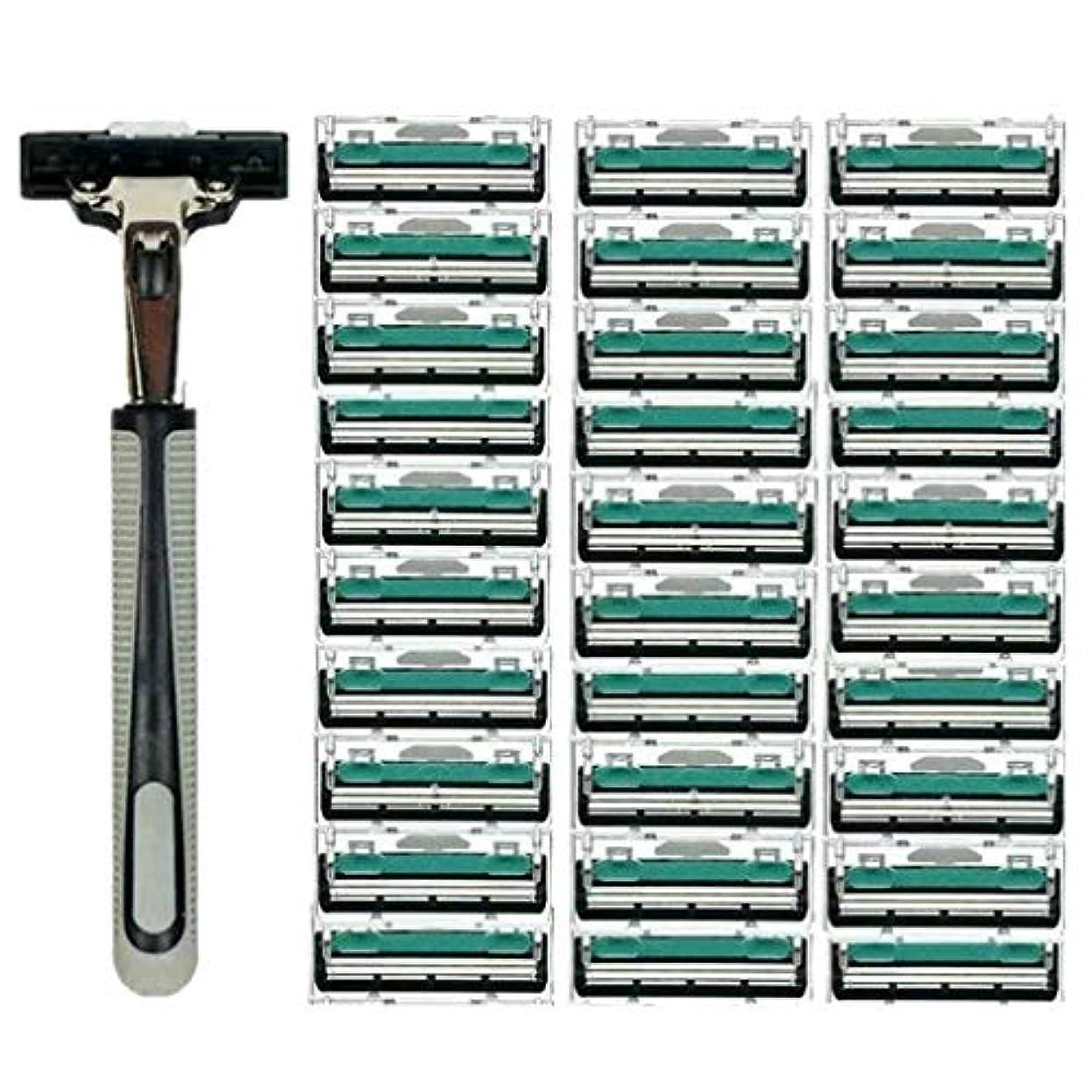 複製する略奪工業化するKOROWA髭剃り 男性カミソリ 替刃30個付 安全性 大容量 …