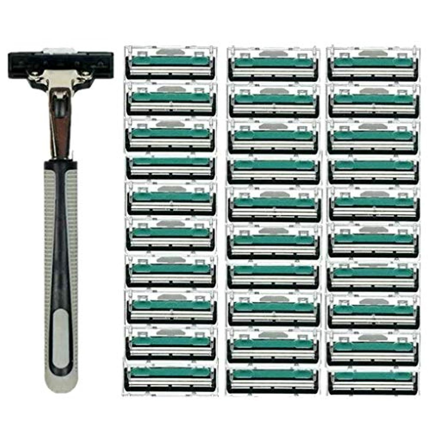 シルエット経済的文房具KOROWA髭剃り 男性カミソリ 替刃30個付 安全性 大容量 …