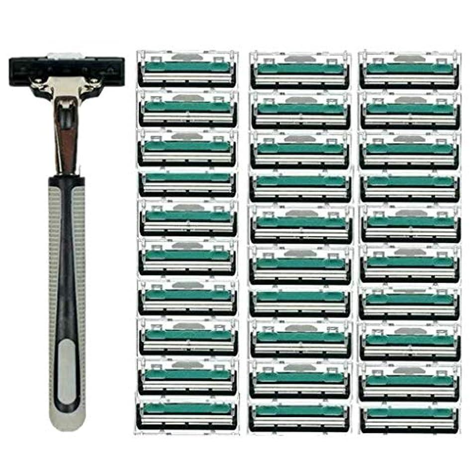 導出騒々しいハグKOROWA髭剃り 男性カミソリ 替刃30個付 安全性 大容量 …