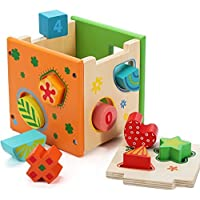 Glamore Wooden Shape Sorter Kids Preschool Educational Toys Puzzles Number Shape Color Recognition (Children's Product Certificate) [Floral] [並行輸入品]