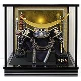 五月人形 兜ケース飾り 伊達政宗公兜 間口40.5×奥行28×高さ38.5cm 黒塗ガラスケース 30-501