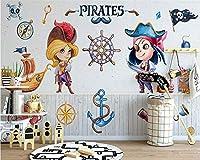 Bzbhart カスタム壁紙北欧モダンミニマリスト漫画海賊子供部屋背景壁寝室壁画-400cmx280cm