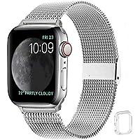 WFEAGL コンパチブル apple watch バンド, コンパチブルiWatch通用ベルト apple watch 6/5/4/3/2/1, SEに対応 交換ベルトステンレス製(38mm 40mm, シルバー)