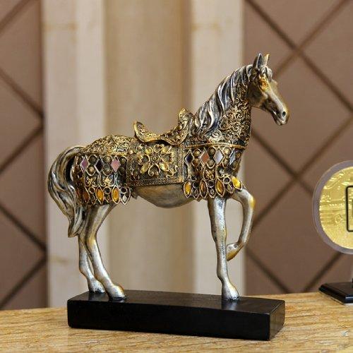 アンティーク ヨーロピアン風 美しい 装飾 馬の 置物 ゴールドタイプ 風水 縁起