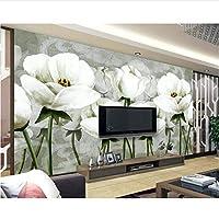カスタム3D壁紙クラシックハンドペイント白花壁画ソファテレビリビングルームの寝室の背景壁3D壁紙-280X200Cm