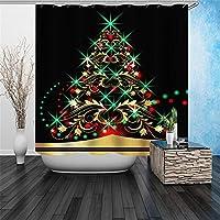 クリスマスツリーの浴室のカーテンポリエステルシャワーカーテン3Dデジタル印刷防水性の証拠クイック乾燥浴室のパーティションのカーテンホームバスタブ12pcsのフック付きカーテンを吊るす (Size : 180x200cm)