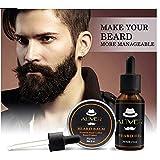 男性用2本セット - 30グラムビアードバーム+ 30ミリリットルビアードオイル - 健康的なあごひげの成長のための強化と厚み (SET of 2 for Men - 30 gr Beard Balm + 30ml Beard...