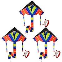 カイト、lingxuinfo 3ペアHuge三角形Rainbow Kite with Long Tail、アウトドア活動の子供と大人