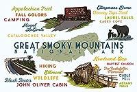 グレート・スモーキー山脈国立公園–Typographyとアイコン 16 x 24 Signed Art Print LANT-75502-709