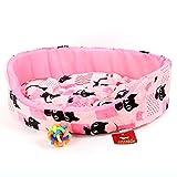 【 全3種類 】 ふわふわ 暖か~い ネコ 柄 犬 猫 用 ベット ソフア クッション / 鈴おもちゃ との2点セット (ピンク&鈴おもちゃ)