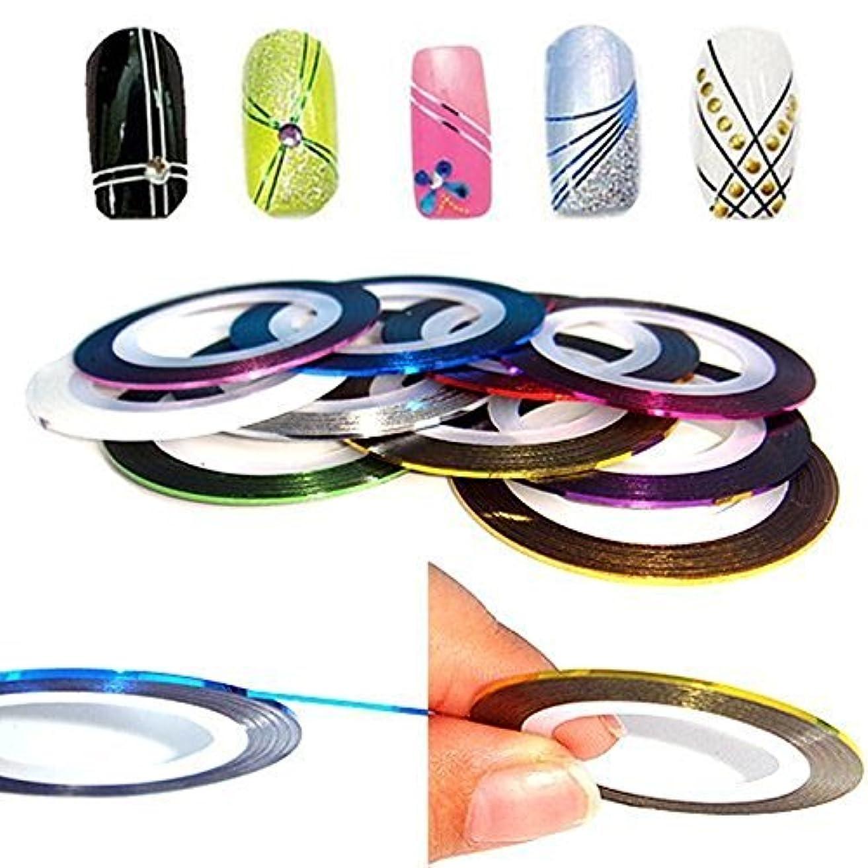 (ウォームガール)Warm Girl 10巻き ネイルアート用ラインテープ 10色 ネイルデザインテープ ジェルネイル用セット