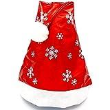 HuaQingPiJu-JP クリスマス用品ブライトクロススノーフレークパターンハット_レッド+ホワイト